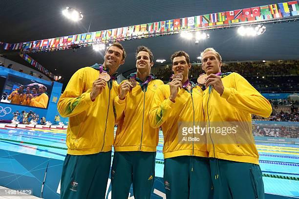 Bronze medallists Christian Sprenger, James Magnussen, Matt Targett, and Hayden Stoeckel of Australia pose following the medal ceremony for the Men's...