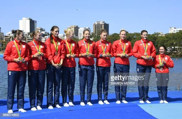 Bronze medallists Romania's Madalina Beres Andreea Boghian Adelina Bogus Roxana Cogianu Daniela Druncea Laura Oprea Mihaela Petrila Iuliana Popa and...