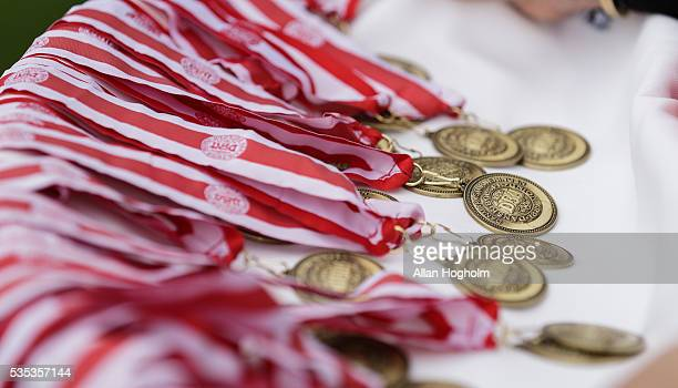 Bronze medals for the players of FC Midtjylland after the Danish Alka Superliga match between FC Midtjylland and FC Nordsjalland at MCH Arena on May...