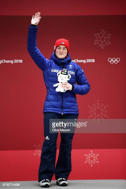 Bronze medlaist Laura Deas of Great Britain celebrates on the podium during the victory ceremony for the Women's Skeleton on day eight of the...