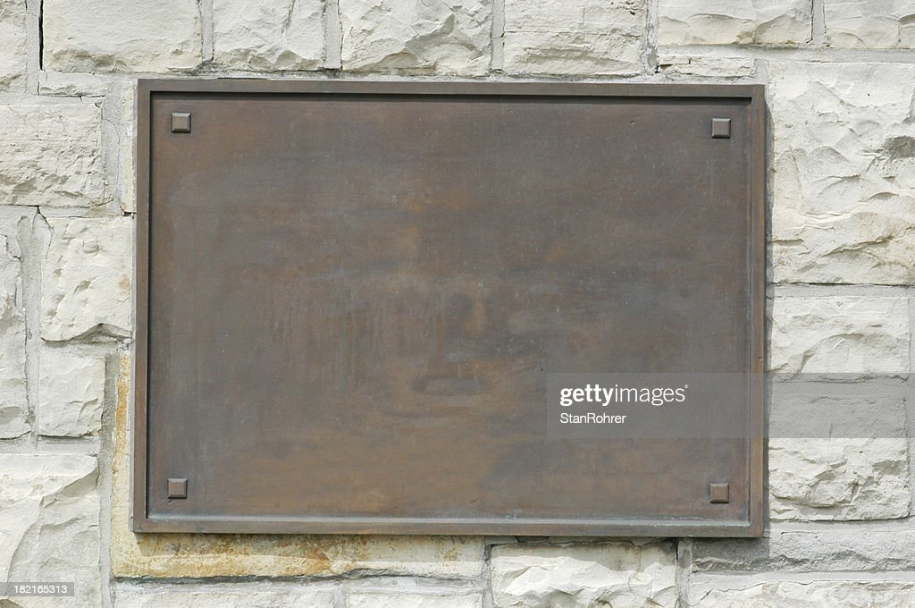 Bronze Memorial Plaque On Stone Wall : Stock Photo