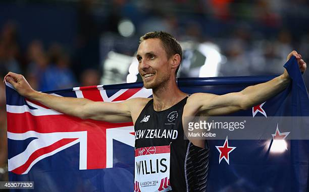 Bronze Nick Willis of New Zealand celebrates after the Men's 1500 metres final at Hampden Park during day ten of the Glasgow 2014 Commonwealth Games...