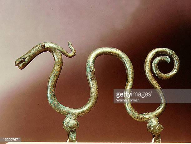 Bronze ornament in the shape of a serpent From a cult boat Denmark Pre Viking Bronze Age Jutland