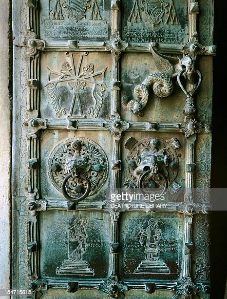 Bronze panel decorations detail of the portal Troia CoCathedral Apulia Romanesque Art Italy 12th century