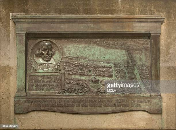 Bronze plaque placed in the 1920s marking site of the Globe Theatre in Park Street London