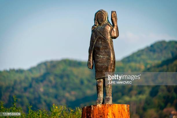 Bronze replica depicting US First Lady Melania Trump, made by US artist Brad Downey, is seen after its unveiling in a field near US First Lady's...