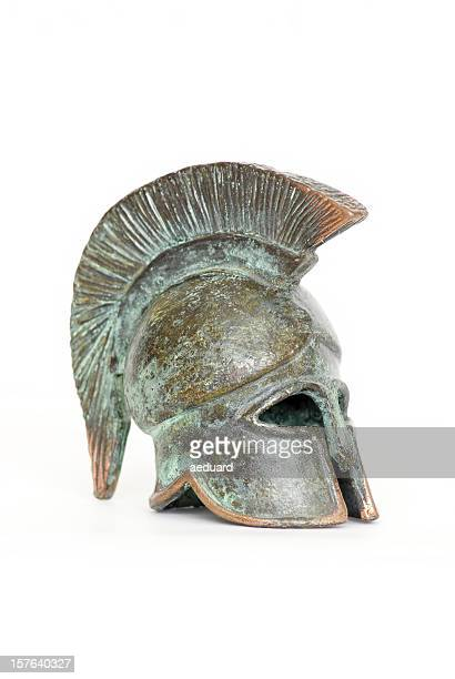bronze rusted ancient greek helmet - sparta stock photos and pictures