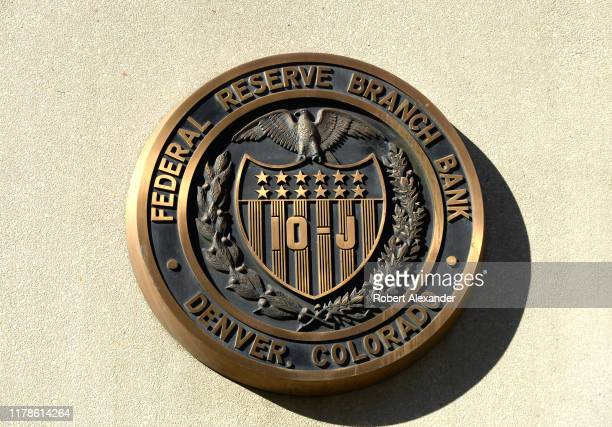 Bronze seal embedded on the exterior of the Denver Branch of the Federal Reserve Branch Bank in downtown Denver, Colorado.