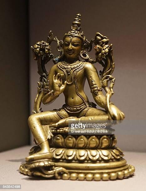 Bronze seated figures of Avalokiteshvara the earthly manifestation of the selfborn eternal Buddha Amitabha Dated 12th Century