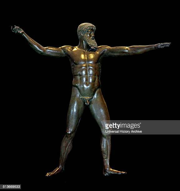 Bronze statue Found in the sea off Cape Artemisium Euboea Greece 1928 The original was made in the middle decades of the 5th century BC