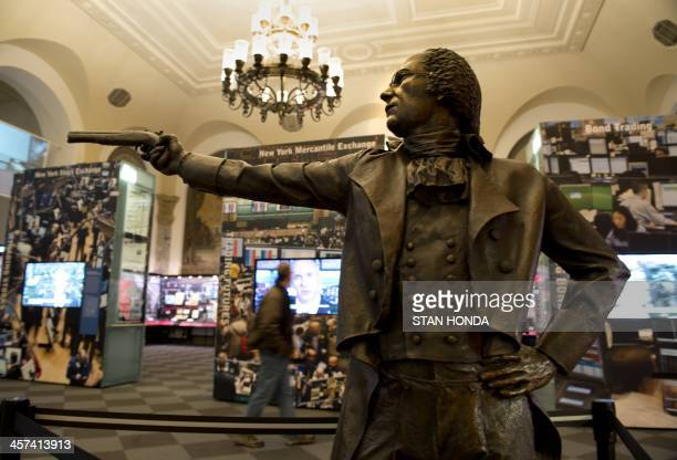 A bronze statue of Alexander Hamilton appointed the first secretary of the treasury by US President George Washington in a pose recreating his duel...