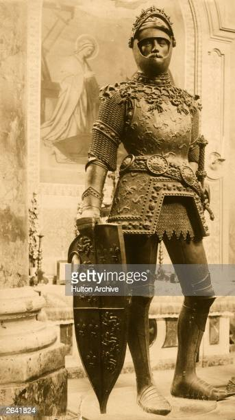 Bronze statue of Arthur legendary king of the 6th century Britons in the Royal Chapel at Innsbruck circa 552 AD