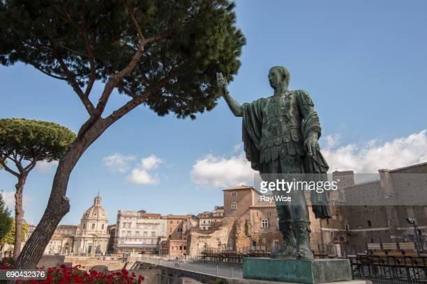 bronze statue of caesar, rome, italy - julius caesar stock photos and pictures