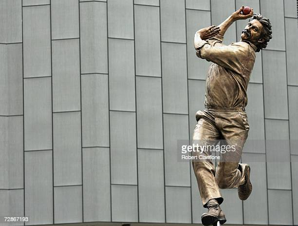 A bronze statue of former Australian cricketer Dennis Lillee is seen in front of the MCG as part of the Walk of the Champions at the Melbourne...