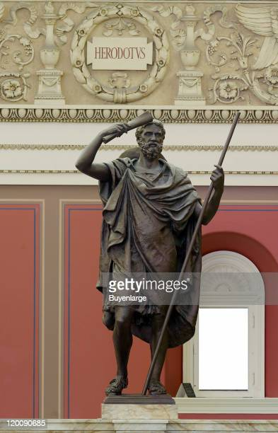 Bronze statue of Greek historian Herodotus in the main reading room of the Library of Congress Washington DC 2010