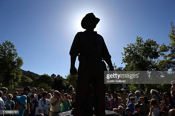 A bronze statue of Indiana Jones is displayed at the new Imagination Park on June 20 2013 in San Anselmo California Bronze statues of the 'Star Wars'...