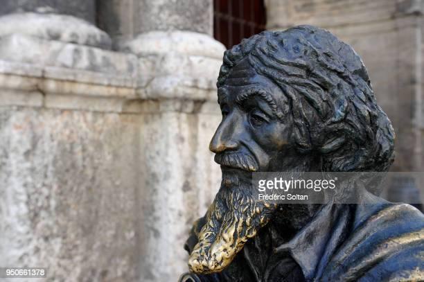 Bronze statue of José María López Lledín known as 'El Caballero de Paris' by sculptor José Villa Soberón located in the Saint Francis de Assisi plaza...