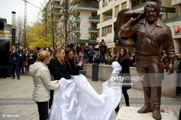 A bronze statue of late Italian movie actor Carlo Pedersoli aka Bud Spencer is being unveiled by his daughters Cristiana and Diamante and Hungarian...