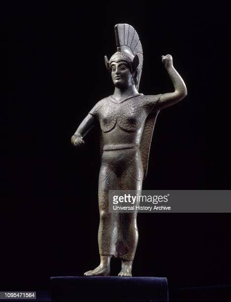Bronze statue of Menerva in battle, from Perugia. Etruscan Civilization, 475-450 BC. A masterpiece of Etruscan art. It is a late 5th century BC...
