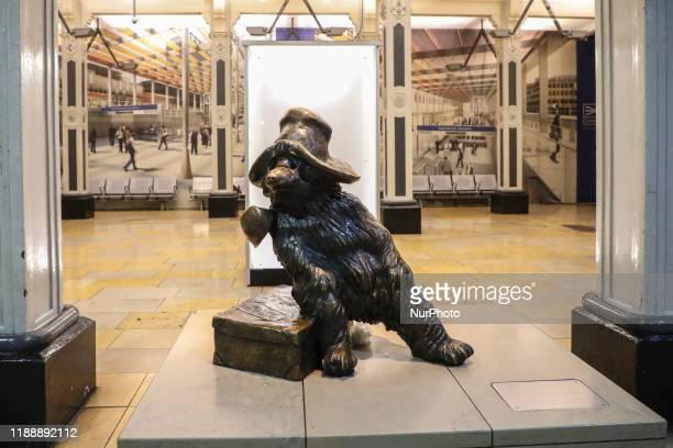 Bronze statue of Paddington Bear at Paddington station in London, United Kingdom on 10 December, 2019.