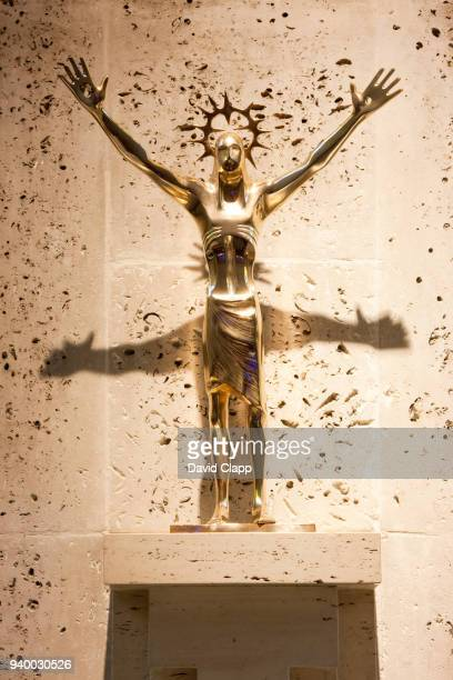 bronze statue of the risen christ by arthur dooley - christ is risen stock photos and pictures