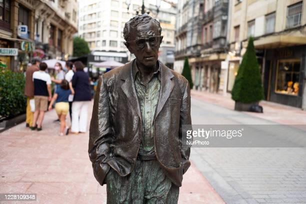 Bronze statue of Woody Allen in Oviedo in Asturias, Spain on August 19, 2020.