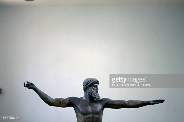 Bronze statue of Zeus or Poseidon 460 BC found off Cape Artemisium in Euboea Greece Greek civilisation 5th century BC Detail Athens Ethnikó...