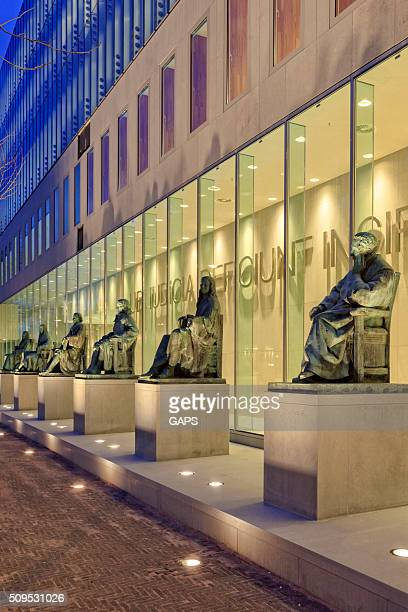 bronze statues of six famous dutch jurists - the hague stock pictures, royalty-free photos & images