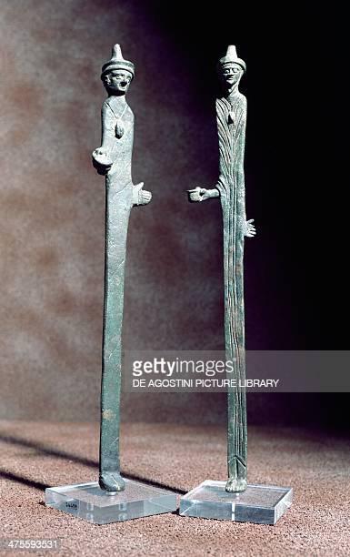 Bronze statues representing two augurs Etruscan civilisation Rome Museo Nazionale Etrusco Di Villa Giulia