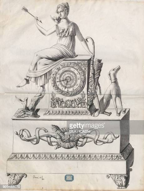 Bronze table clock on a plinth base with a statue depicting Diana with a dog. Engraving, 19th century.