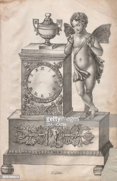 Bronze table clock on a plinth base with a statue depicting Zephyr Engraving 19th century