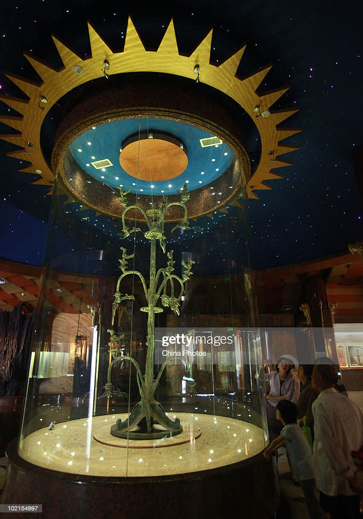 A bronze tree is displayed at the Sanxingdui Museum on June 14, 2010 in Guanghan of Sichuan Province, China. Sanxingdui Museum is located in Northeast of Sanxingdu archeological site which believed to be the capital of ancient Shu, with more than 3,000-year history.