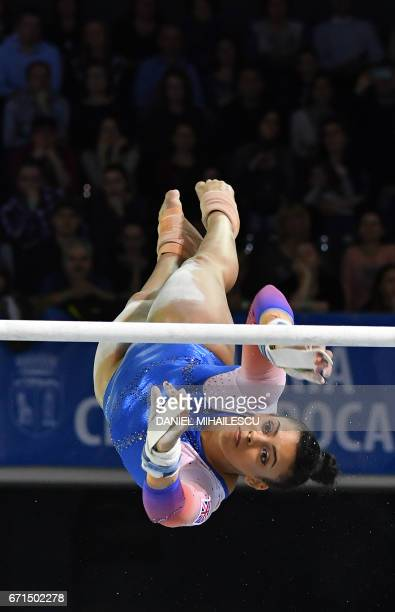 Bronze winner Elissa Downie of Great Britain performs during women uneven bars apparatus final for the European Artistic Gymnastics Championship in...