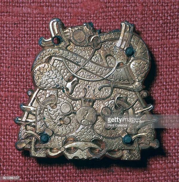 Bronzegilt brooch from a Viking grave in Sweden now in the Museum of National Antiquities' collection in Stockholm