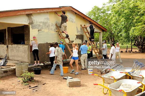 BACK Brook Claire Nat Rachel Chad Jill Gary Katie Vickie Nick and Stephanie from THE AMAZING RACE help renovate the local primary school in Doryumo...