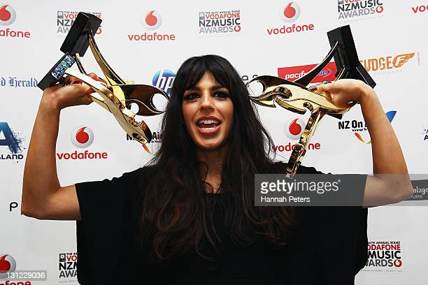 Brook Fraser poses for a photo with her awards following the 2011 Vodafone Music Awards at Vector Arena on November 3 2011 in Auckland New Zealand