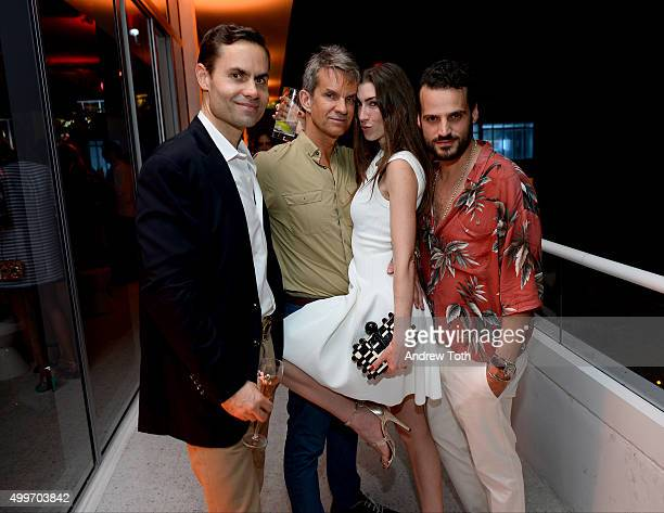Brook Hazelton Werz Alexander Erin Hazelton and Christian Belleizzeli attend Raspoutine Paris Popup at L'Eden by Perrier Jouet at the Faena Hotel on...