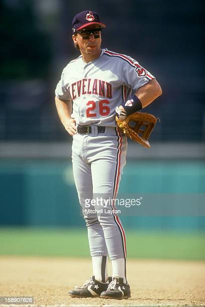Brook Jacoby of the Cleveland Indians looks on during a baseball game against the Baltimore Orioles on June 28 1990 at Memorial Stadium in Baltimore...