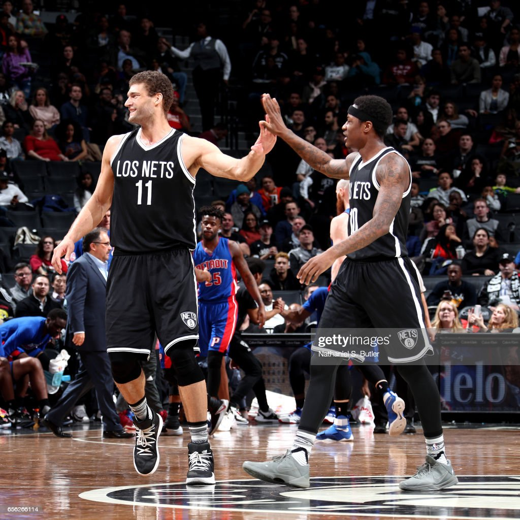 Brook Lopez #11 and Archie Goodwin #10 of the Brooklyn Nets react during the game against the Detroit Pistons on March 21, 2017 at Barclays Center in Brooklyn, New York.