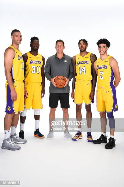 Brook Lopez Julius Randle Luke Walton Lonzo Ball and Brandon Ingram of the Los Angeles Lakers pose for a portrait during media day at UCLA Health...