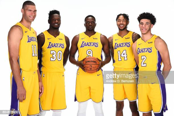 Brook Lopez Julius Randle Luol Deng Lonzo Ball and Brandon Ingram of the Los Angeles Lakers pose for a portrait during media day at UCLA Health...