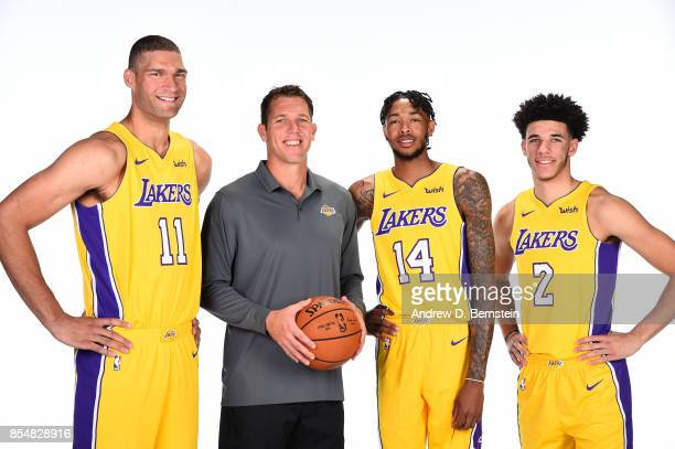 Brook Lopez Luke Walton Lonzo Ball and Brandon Ingram of the Los Angeles Lakers pose for a portrait during media day at UCLA Health Training Center...