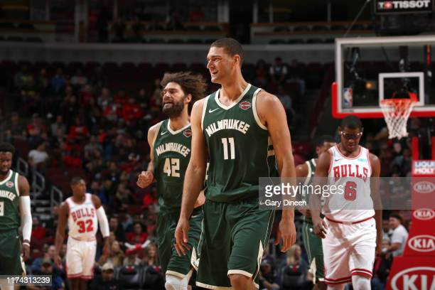 Brook Lopez of Milwaukee Bucks smiles during the game against the Chicago Bulls on October 7 2019 at the United Center in Chicago Illinois NOTE TO...