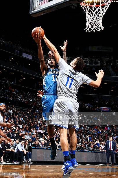 Brook Lopez of the Brooklyn Nets attempts to block a shot against Andrew Wiggins of the Minnesota Timberwolves on November 8 2016 at Barclays Center...