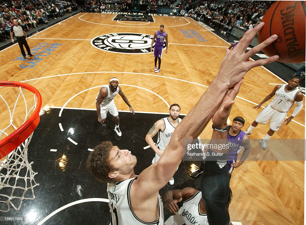 Brook Lopez #11 of the Brooklyn Nets blocks a shot against the Sacramento Kings on January 5, 2013 at the Barclays Center in the Brooklyn borough of New York City.