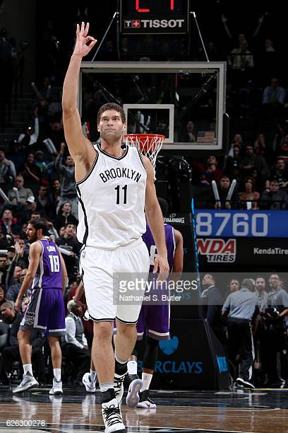Brook Lopez of the Brooklyn Nets celebrates a three point basket during the game against the Sacramento Kings on November 27 2016 at Barclays Center...