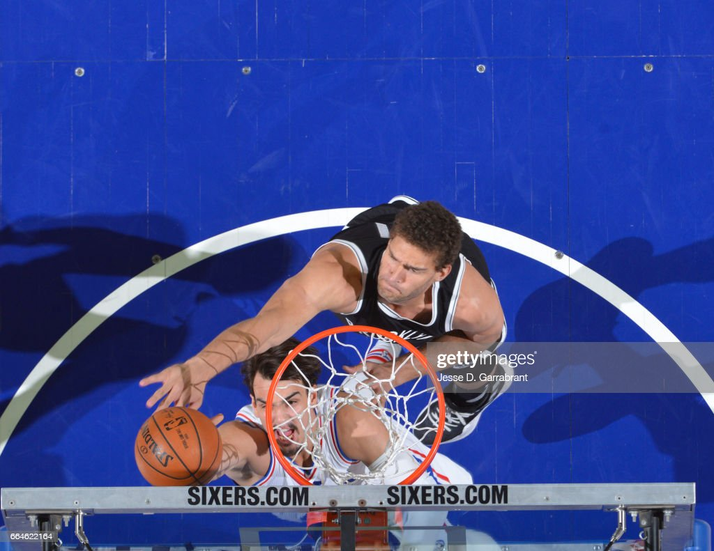 Brook Lopez #11 of the Brooklyn Nets goes up for the block against the Philadelphia 76ers at Wells Fargo Center on April 4, 2017 in Philadelphia, Pennsylvania