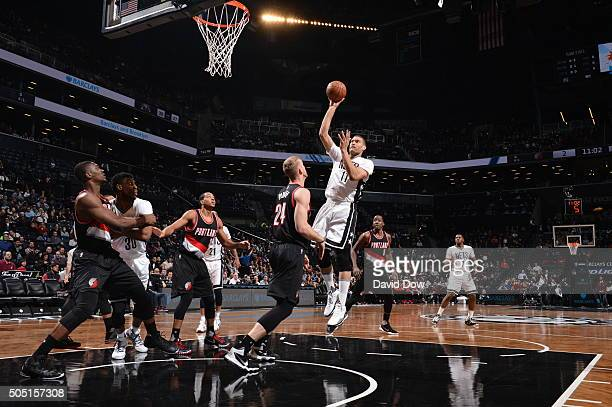 Brook Lopez of the Brooklyn Nets goes up for the shot against the Portland Trail Blazers on January 15 2015 at Barclays Center in Brooklyn New York...