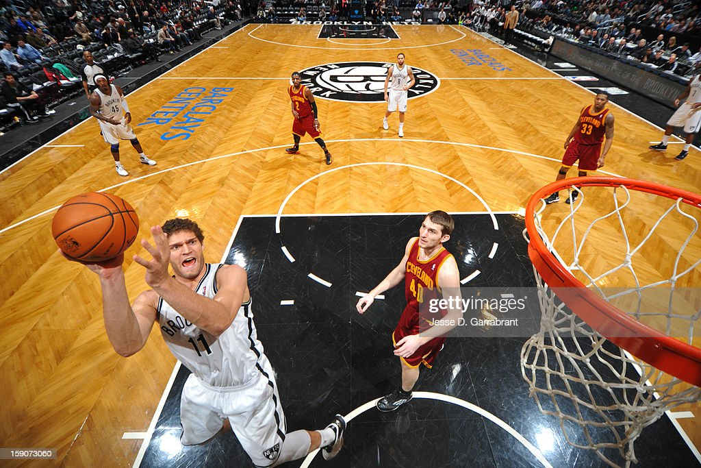 Brook Lopez #11 of the Brooklyn Nets shoots against the Cleveland Cavaliers at the Barclays Center on December 29, 2012 in Brooklyn, New York.