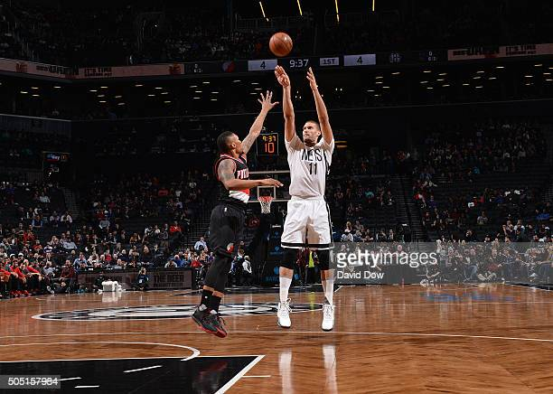 Brook Lopez of the Brooklyn Nets shoots the ball against the Portland Trail Blazers on January 15 2015 at Barclays Center in Brooklyn New York NOTE...